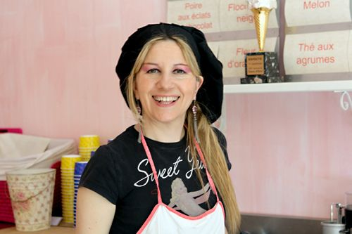 Mary from Mary Gelateria with her warm smile that make the best Gelato in Paris
