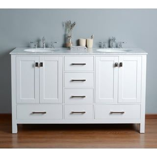 Photo Gallery For Photographers Shop for Stufurhome inch Malibu Pure White Double Sink Bathroom Vanity Get free delivery