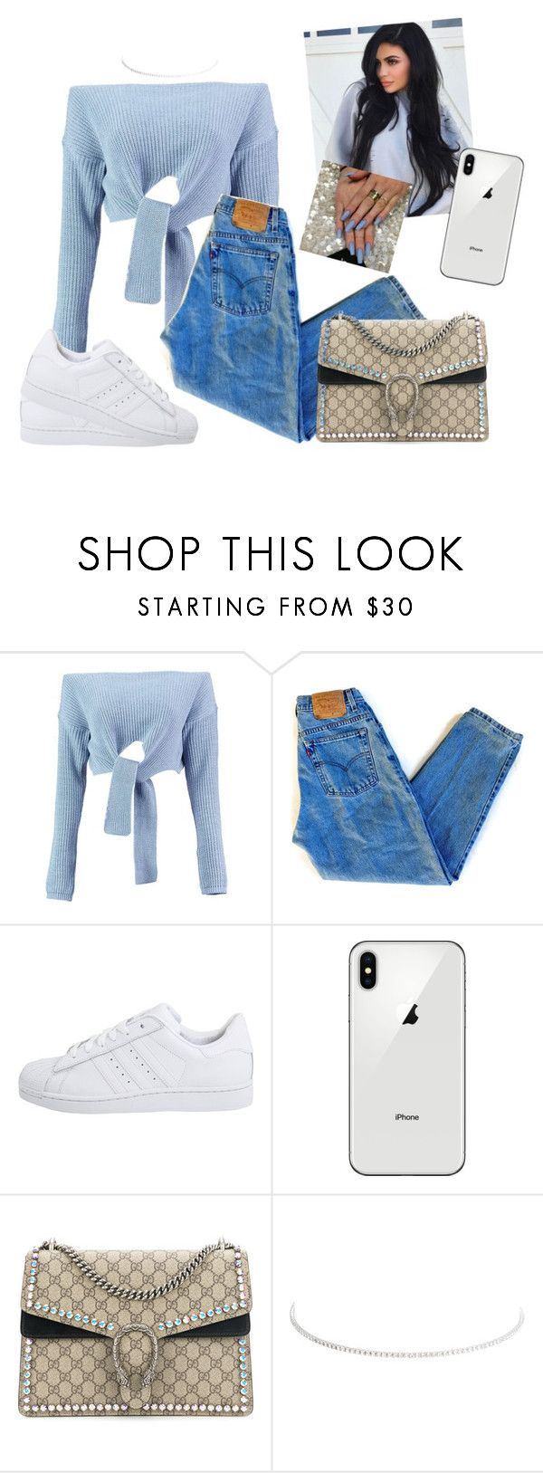 """""""Untitled #1751"""" by aerielle24 ❤ liked on Polyvore featuring Boohoo, Levi's, adidas Originals, Gucci and Kenneth Jay Lane"""