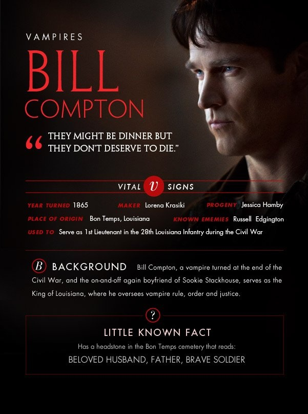 Bill- Bill's secret Vampire Records (<-Sookie Stackhouse novels readers only)