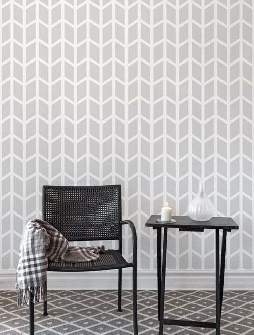 Chevron Wide wall stencil  Geometric Large by StenCilit on Etsy