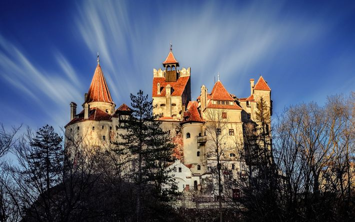 Download wallpapers Castle Bran, old castle, autumn, attractions, Romania