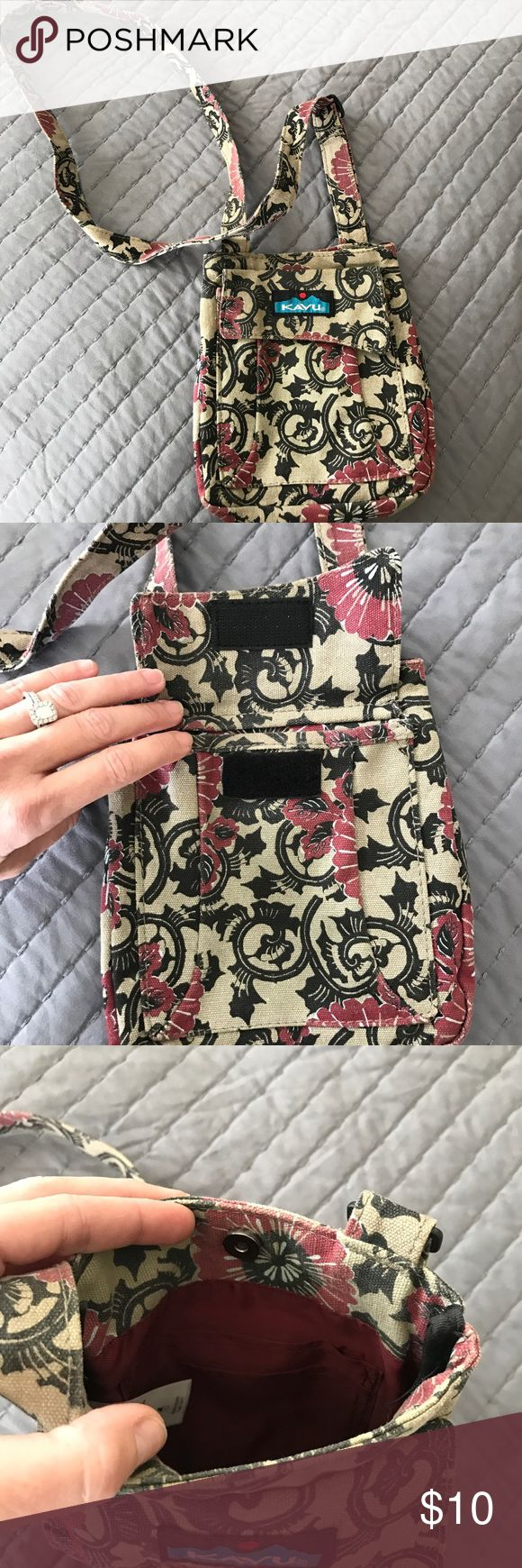 """KAVU Cross body bag Great for festivals!  Cross body bag with adjustable shoulder strap, main compartment with snap closure Front patch pocket, back flat pocket, internal organizational pockets Dimensions: 7"""" x 8"""" Fabric: 12oz cotton canvas KAVU Bags Crossbody Bags"""