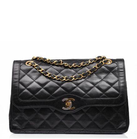 4e63857834c1 CHANEL Paris Limited Edition 2.55 Medium Double Flap Black Calfskin Leather  Bag