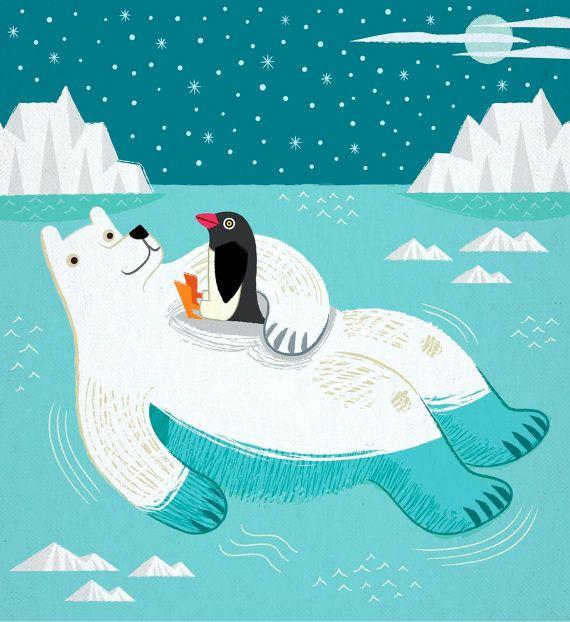 Hitching A Ride - Polar Bear - Penguin - Animal Friends - Children's art…