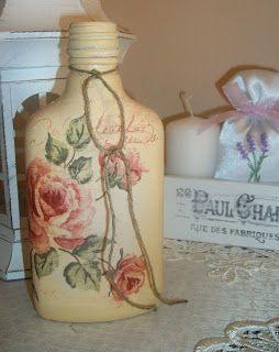 I love shabby: Butelka decoupage na nalewkę, puszki dekoracyjne