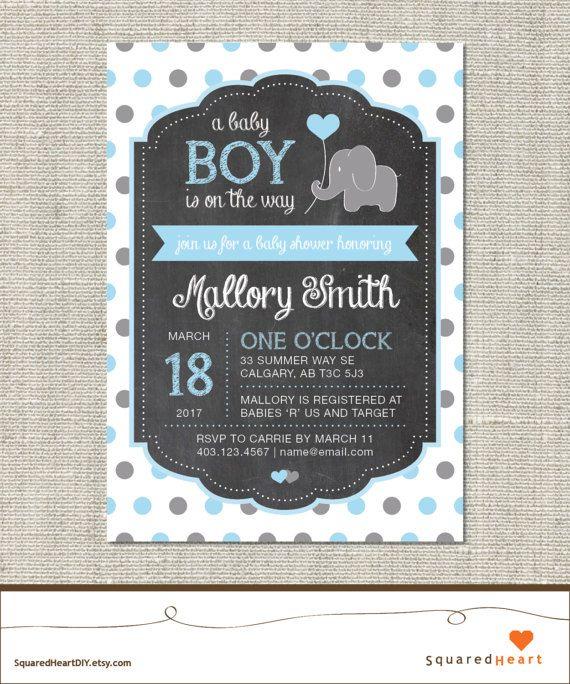 Elefante bebé ducha invitación invitación de elefante