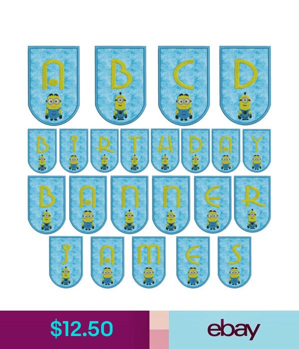 In-The-Hoop Minion Banner Machine Applique Embroidery Patterns Alphabet