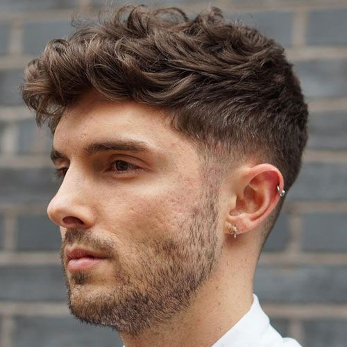 Low Taper Fade with Curly Cropped Fringe