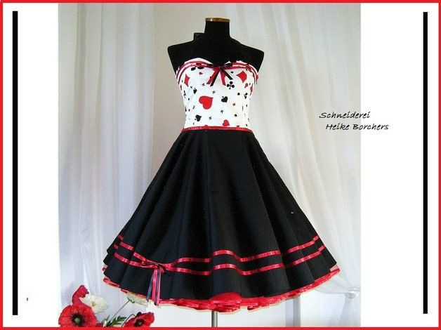 Petticoatkleid , Spielkartenmotiv,50er Jahre Kleid,Neckholderkleid,Baumwollkleid,Abiballkleid,Rockabillykleid,Kleid, von FiftiesFashion auf Etsy