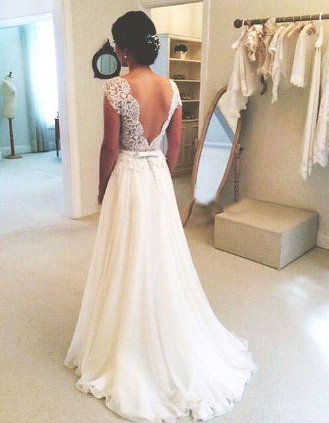 A-line Round Neckline Chiffon Lace Long Wedding Dresses, Wedding Gown, Open Back Wedding Dress, Lace Sleeves Wedding Dress
