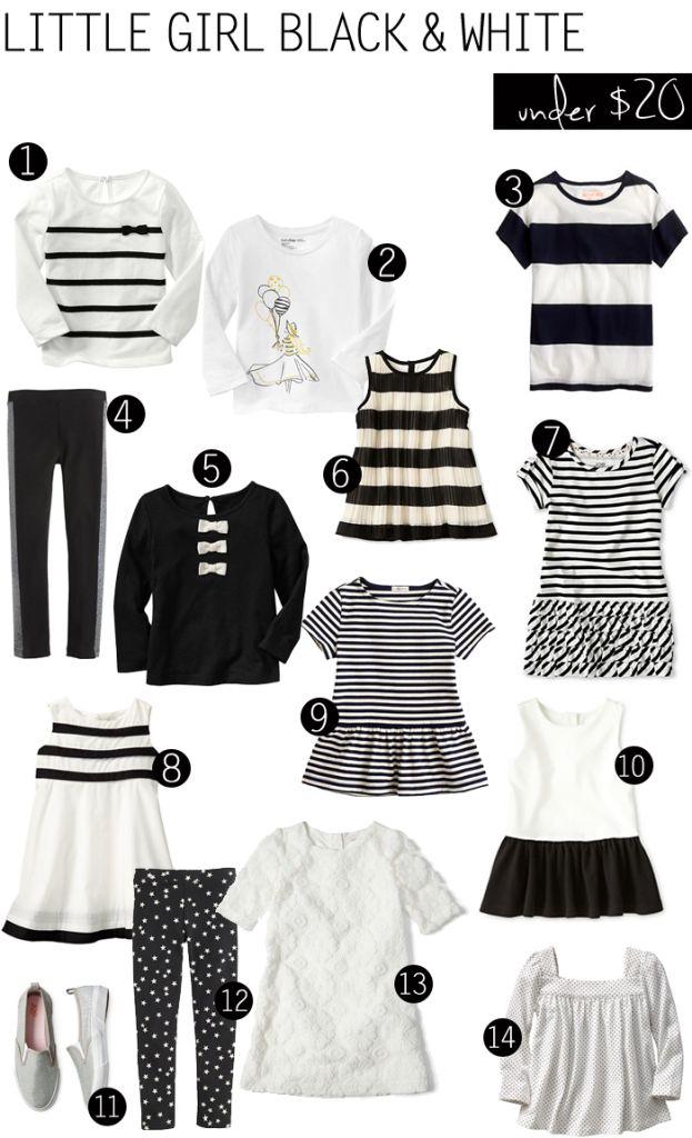 Black + White deals for girls // ropa blanco y negro para niñas
