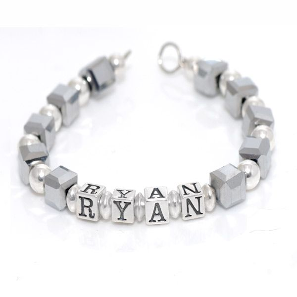 A very stylish bracelet for a very special boy. Crafted with silver flash…