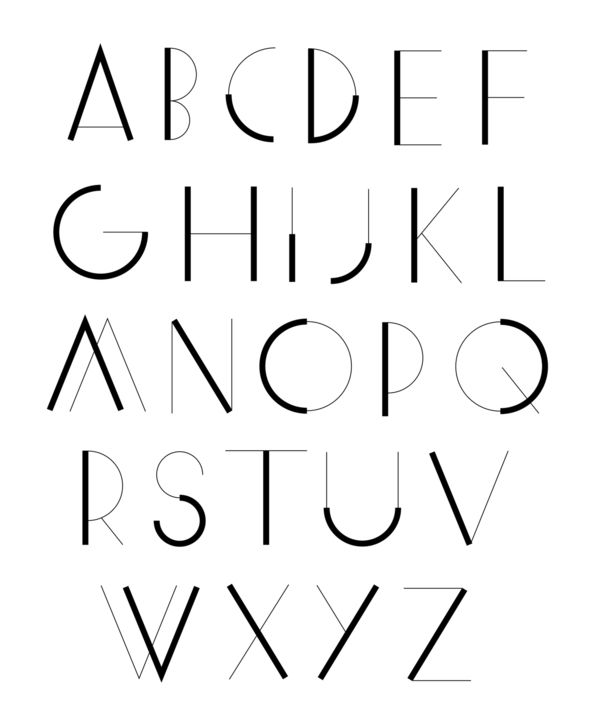 Minimalistic font alphabet, precise lettering