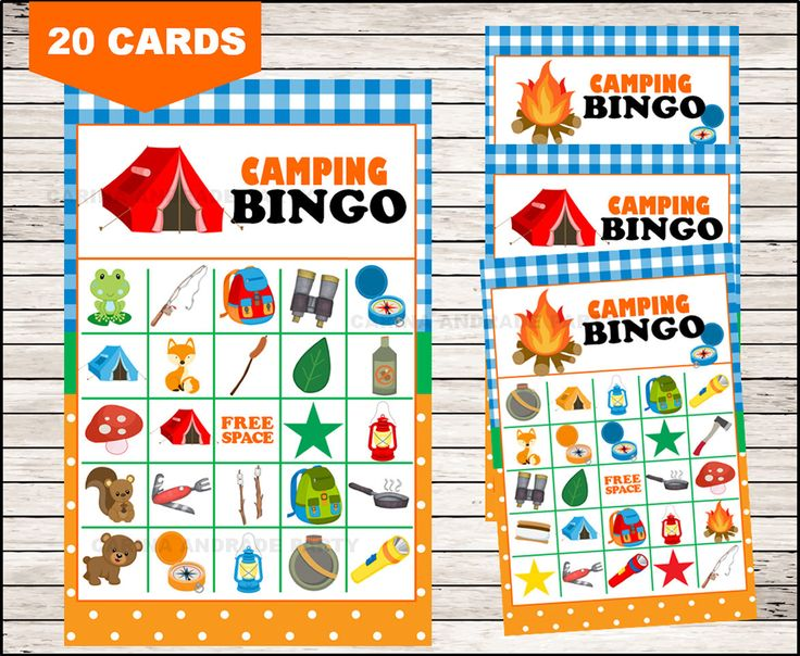 camping Bingo 20 cards, printable camping Bingo cards, camping Bingo cards by Carinaandradeparty on Etsy https://www.etsy.com/listing/520203954/camping-bingo-20-cards-printable-camping