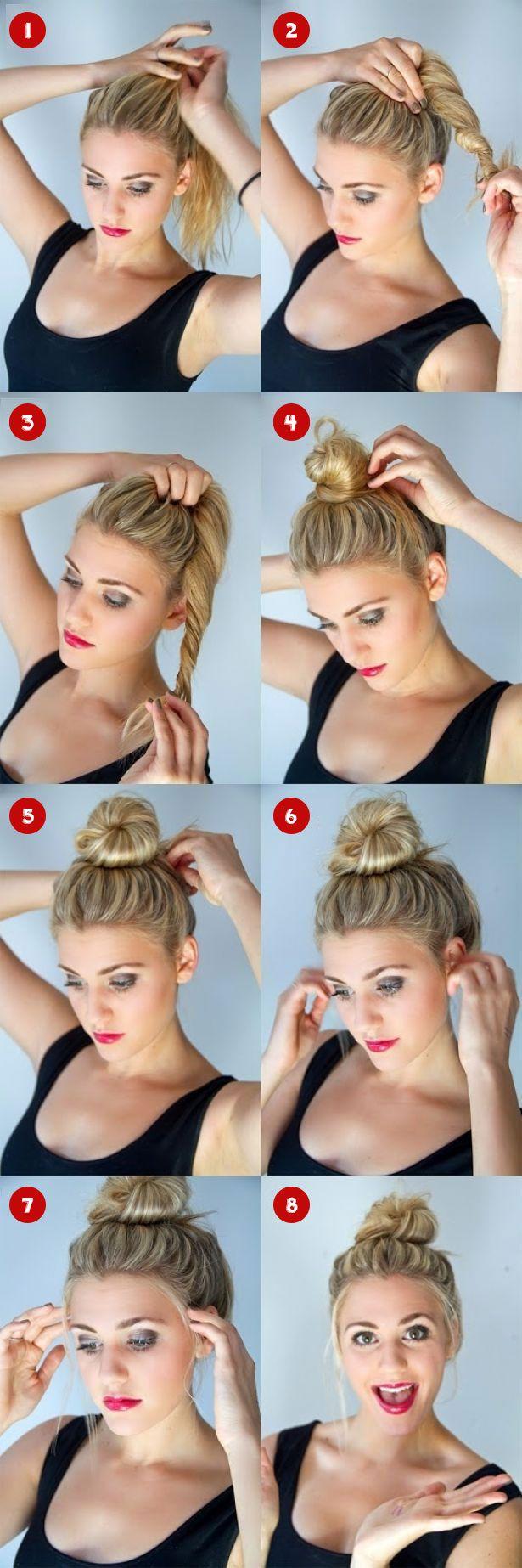 Como hacer un peinado con rodete casual paso a paso | Decoración de Uñas - Manicura y Nail Art