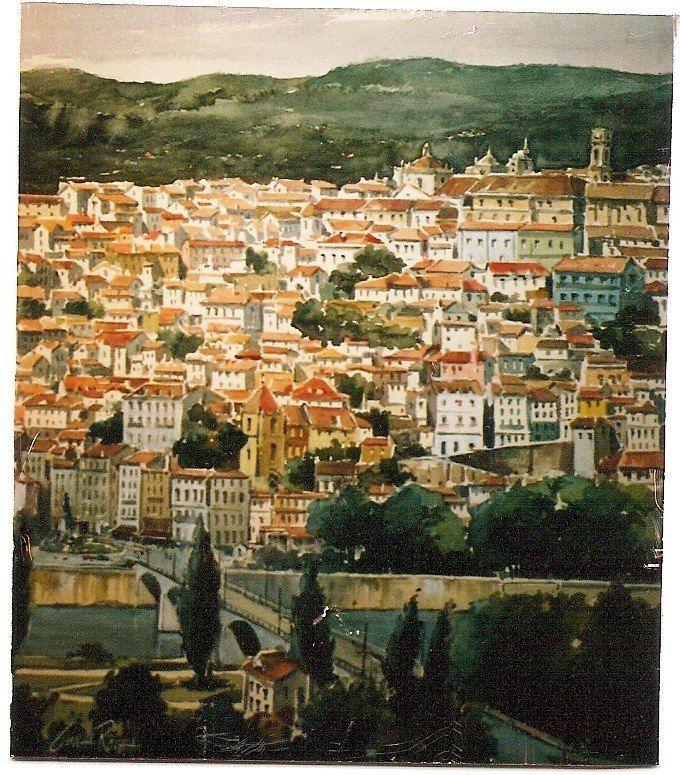 Cunha Rocha - Aguarela - Coimbra  vista do lado de Santa Clara
