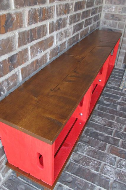 25 best ideas about red bench on pinterest red desk for Wood crate bench