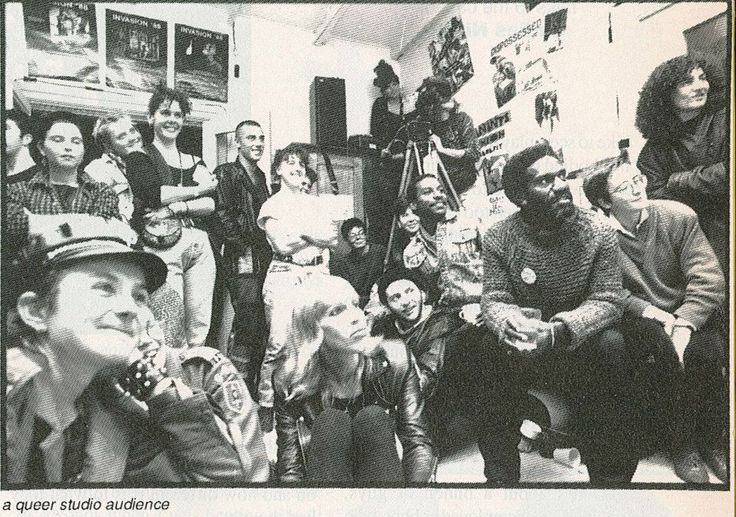 A queer studio audience, photo by Jamie Dunbar, in Queer TV', by Ian Cuthbertson, in Campaign, No. 178, January 1991, p.97, Australian Lesbian and Gay Archives (ALGA)
