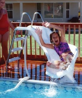 zoomerang above ground pool slide. I didn't even know they made these for above ground pools. Want!