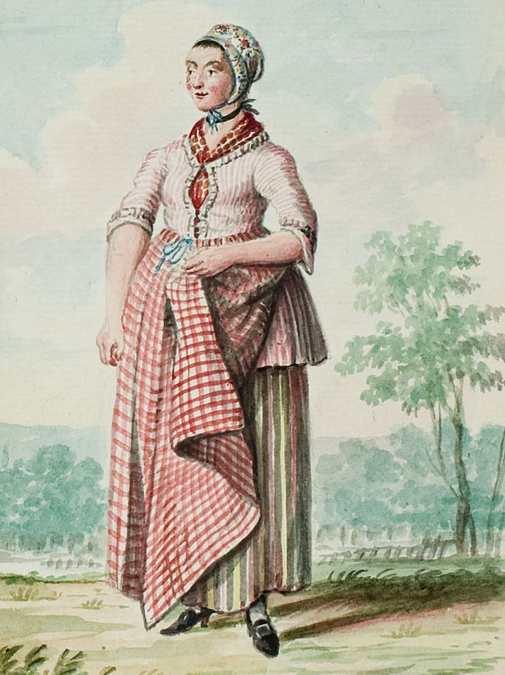 """1770s - 18th century - woman's outfit with mixed print fabrics (jacket in small stripes, skirt in large stripes, apron in plaid/checks, and cap in floral) - From """"An album containing 90 fine water color paintings of costumes."""" Turin : [s.n.] , [ca.1775]. In the collection of the Bunka Fashion College in Japan. Underneath the illustration is handwritten in pencil """"Flemish or"""" and a third word that might be """"Rhennish"""""""
