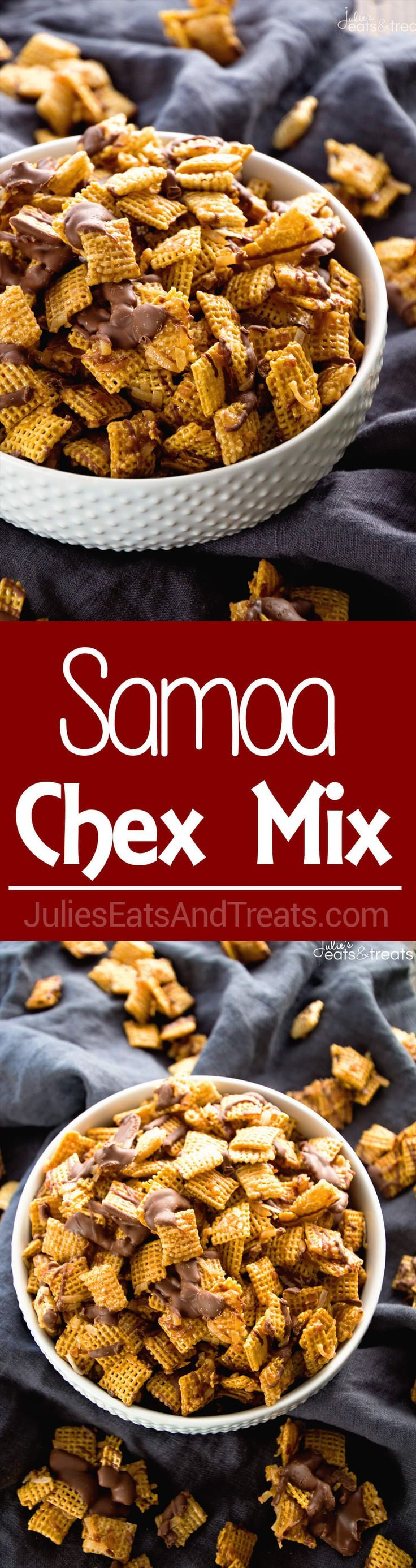 Samoa Chex Mix ~ Easy Snack Mix Loaded with Toasted Coconut, Chocolate and Smothered in Caramel! ~ http://www.julieseatsandtreats.com