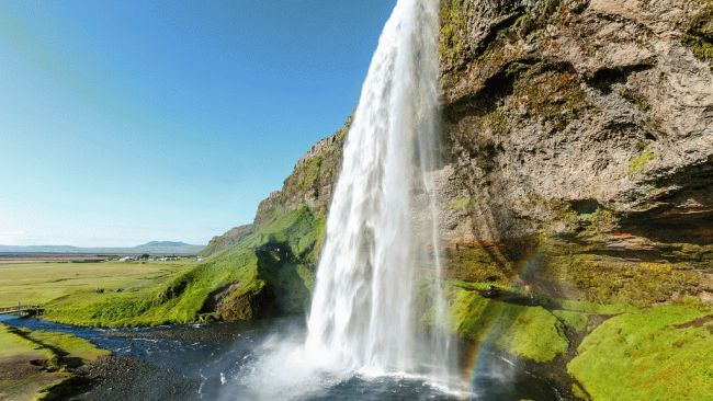 Star of The Amazing Race...When you visit Seljalandsfoss near Iceland's southern coast, it's not hard to figure out why it's one of the country's most popular. A walking path lets you go behind the roughly 200-ft.-high falls, which pour onto rocks below.