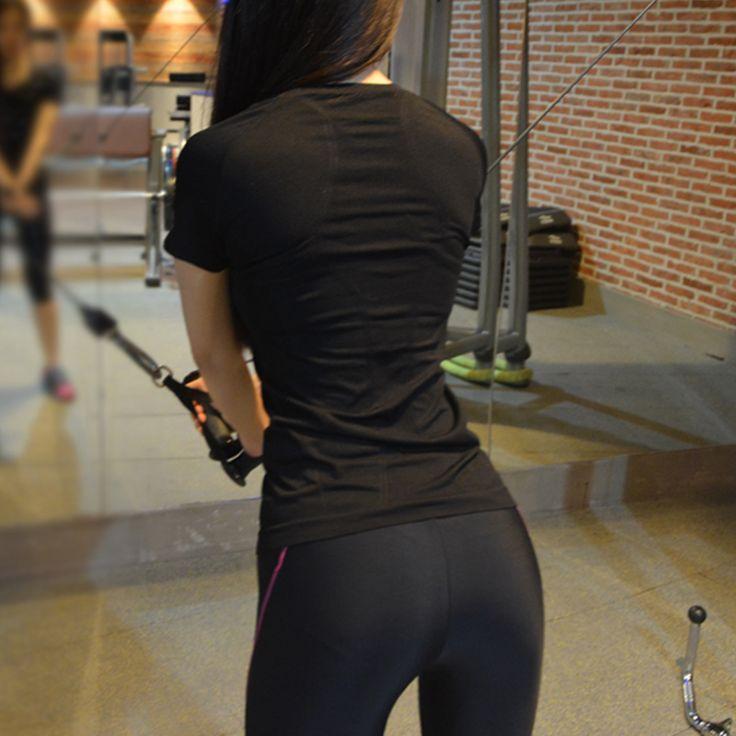 Женская Фитнес футболка спортивная аэробика танец упражнения стрейч Влагоотведение работает футболка случайные короткими рукавами - Taobao