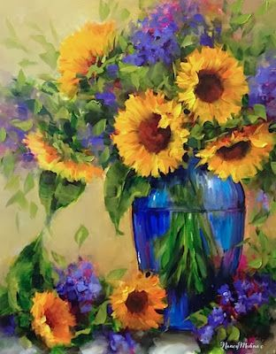 Artists Of Texas Contemporary Paintings and Art - Fall Sunday Sunflowers and a North Texas Workshop by Nancy Medina