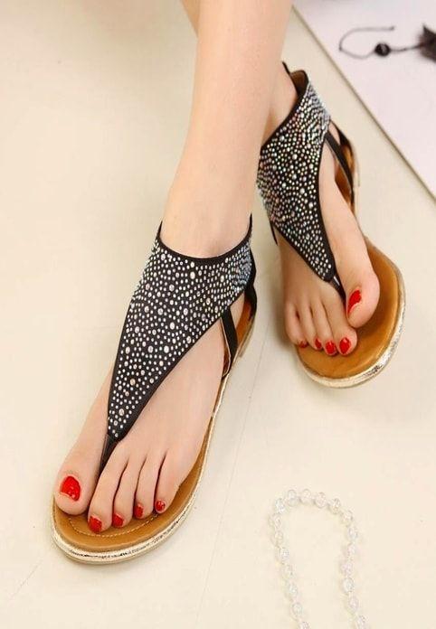 Ladies Fancy Heavy Strips Flat Shoes  2dbe6aee36dd