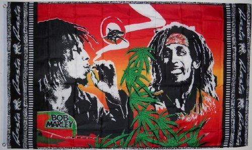 Large Bob Marley Rasta Marijuana Flag, 3'x5' by RastaFlags. $9.95. DECORATE YOUR WALL LIKE A POSTER OR HANG OVER YOUR WINDOW AS A CURTAIN.  GREAT FOR A FESTIVAL OR YOUR NEXT PARTY AND MAKES A GREAT GIFT.  Plus I'll throw in a bag of killer Jamaican grown buds!! Just kidding about that last one. Too bad. But who knows, maybe one day. The revolution's coming! Jah Love. Peace!  Possibly the Largest Selection in the World with Over 1,000 Different Flag  Designs.  Customer Sat...