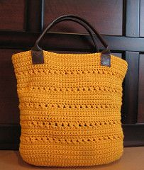 The perfect tote for everyday use. Sturdy enough to use without having to line it. Leather handles add an interesting touch. Alternatively you can crochet handles or use wooden or plastic ones. The bag is worked in one piece from the bottom up in the rounds.