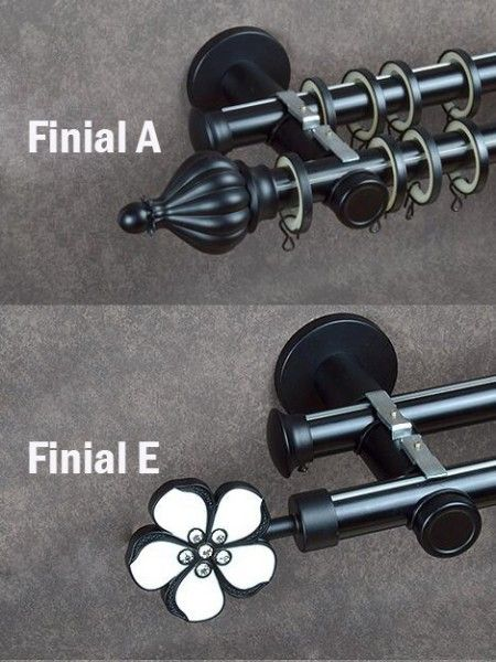 Metal brackets brings more safety wall mount installation. There are many Curtain rod finials for you choose, such as ball finial, cone finial, crystal finial, etc. The new design bracket is very beautiful, you can't see the screws and hole when you complete the installation, you will like them.