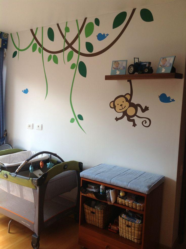 Felipe #ClienteFeliz  Decoracion infantil #vinilosdecorativos #vinilo #niños #kids #Selva #jungle #monkey #mico