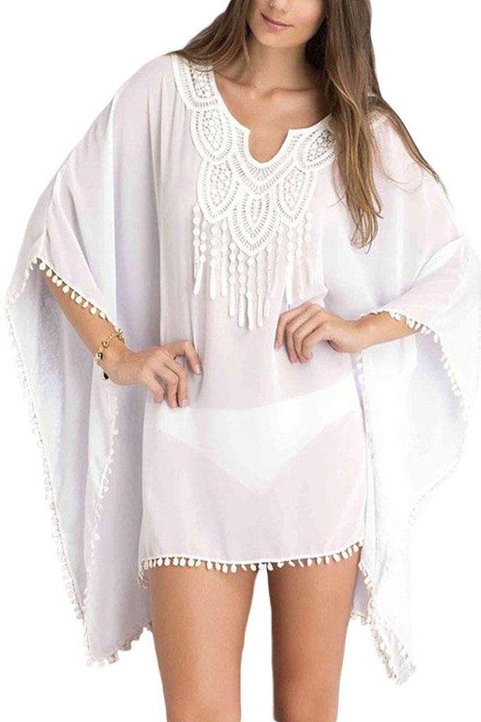 5eee411344 White Chiffon Boho Beachwear Kimono Swimsuit Cover-Up in 2019 ...
