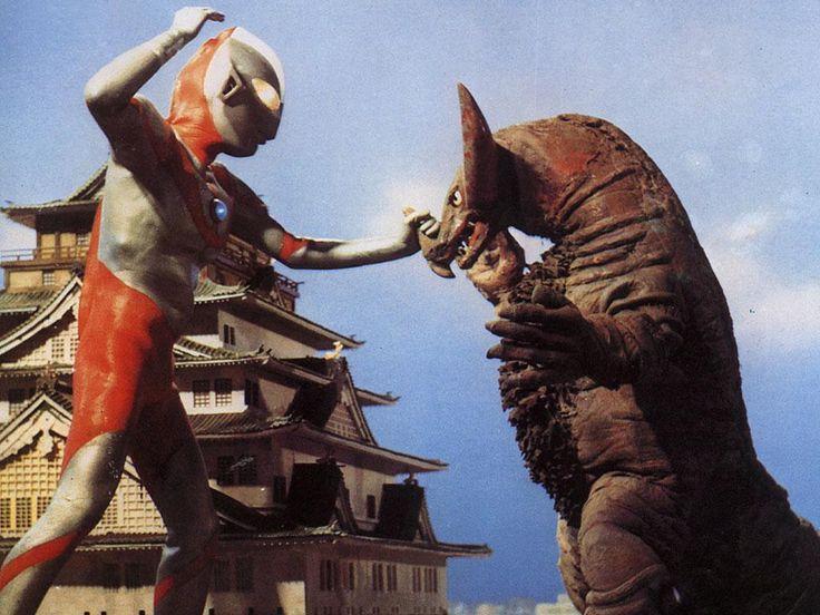 "The original Ultraman battling the monster Gomora in Ultraman (1966-1967). """