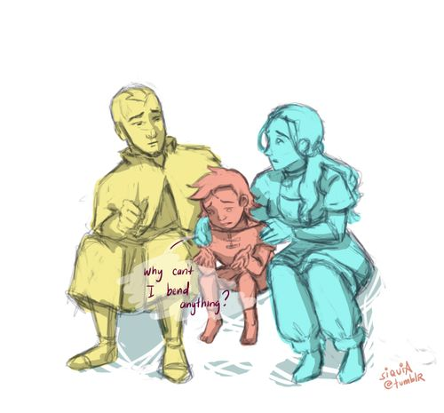 With a master waterbender for a mother, a healer waterbender for a sister, a rare airbender for a brother, and the freaking Avatar for a father, I wonder how it's like being Bumi.