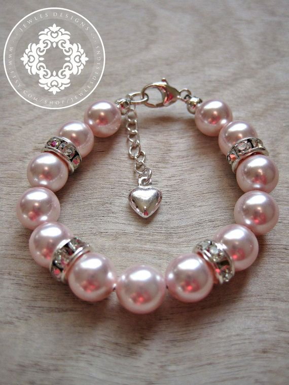 Infant Jewelry SWAROVSKI Pink Pearl Baby bracelet, Baptism, christening, baby shower gift, baby girl Jewellery . on Etsy, $25.99
