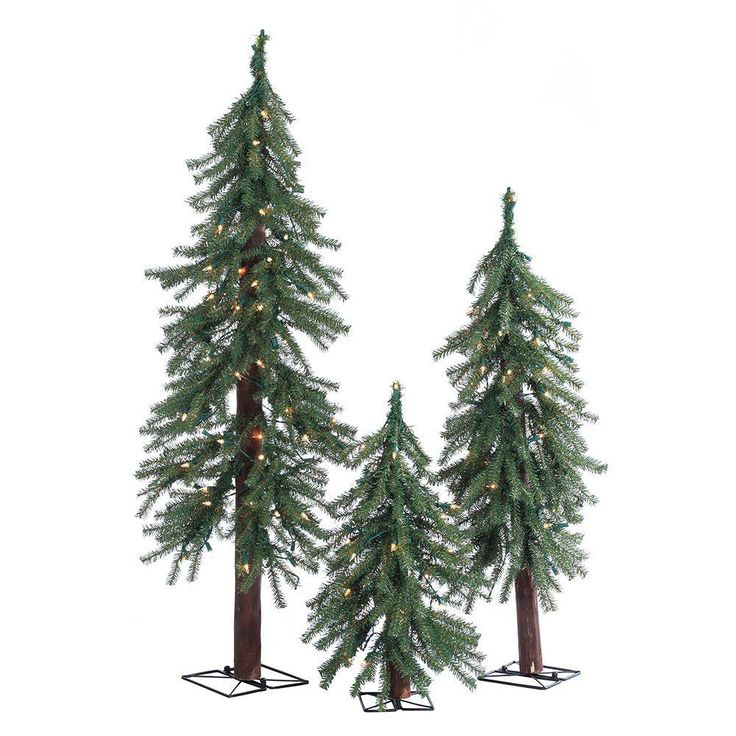 2 ft 3 ft and 4 ft pre lit alpine artificial christmas trees with clear lights 3 piece set greens - 2 Ft Christmas Tree