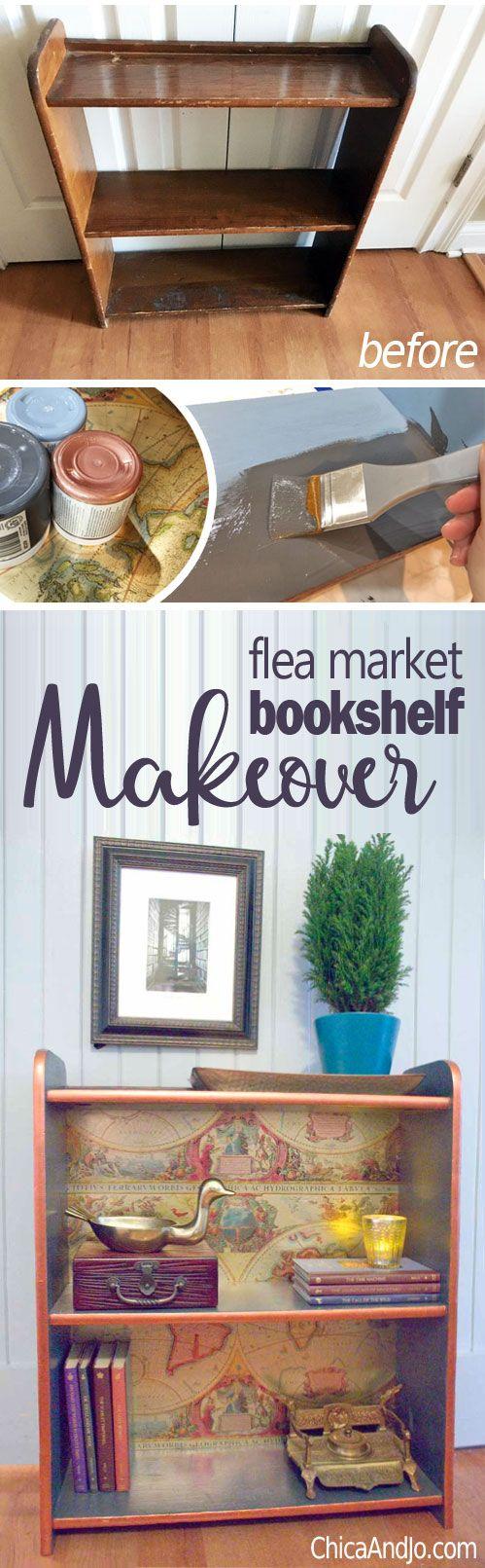 Flea market bookshelf makeover | Chica and Jo
