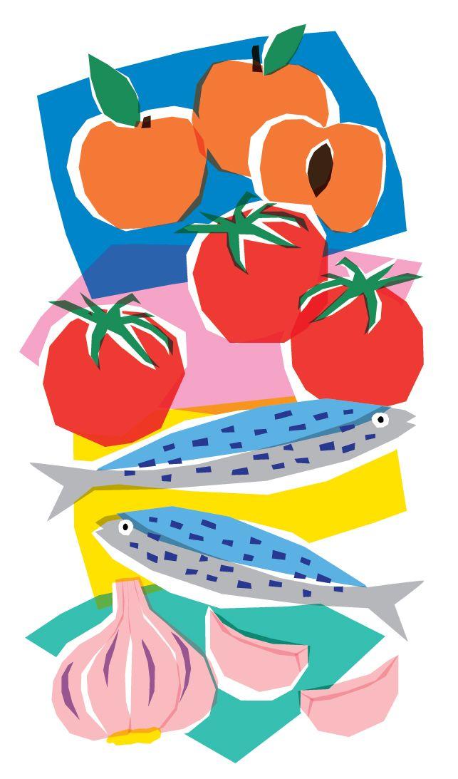 """Marie Doazan - Les Echos (le Week-End) """"Le marché d'été, pharmacie en plein air"""" #illustration #journal #magazine #leséchos #article #presse #drawing #artwork #marché #panier #fruits #légumes #vegetables #mariedoazan"""