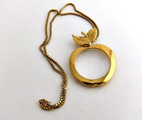 Goldtone Avon Apple Magnifying Glass Pendant Necklace by
