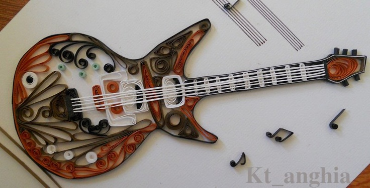 Quilled Guitar with musical staff and notes - by: KT Anghia www.facebook.com/Quilling.ktanghia