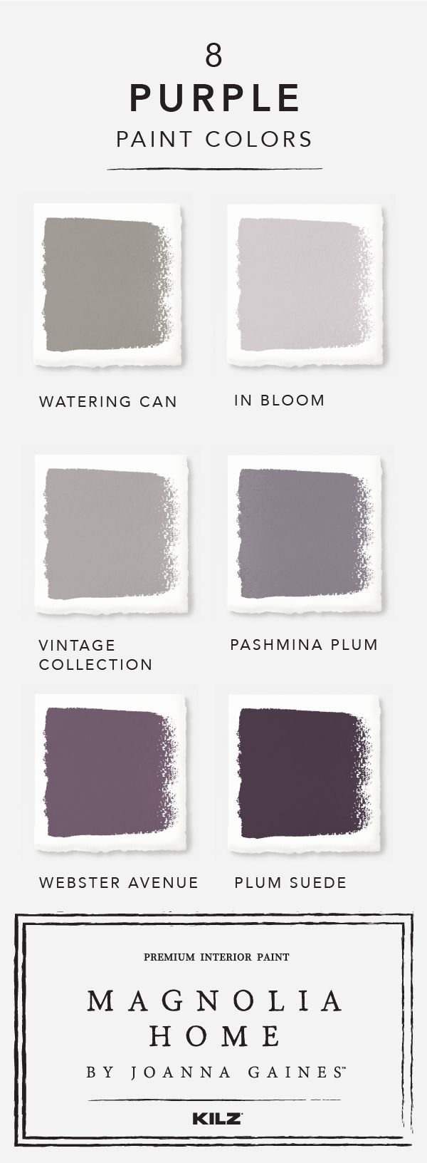 Bring your design vision together with purple hues from Magnolia Home by Joanna Gaines™ paint collection. Explore a range of shades like In Bloom, Vintage Collection, and Webster Avenue to find the perfect color to fit your unique sense of style.