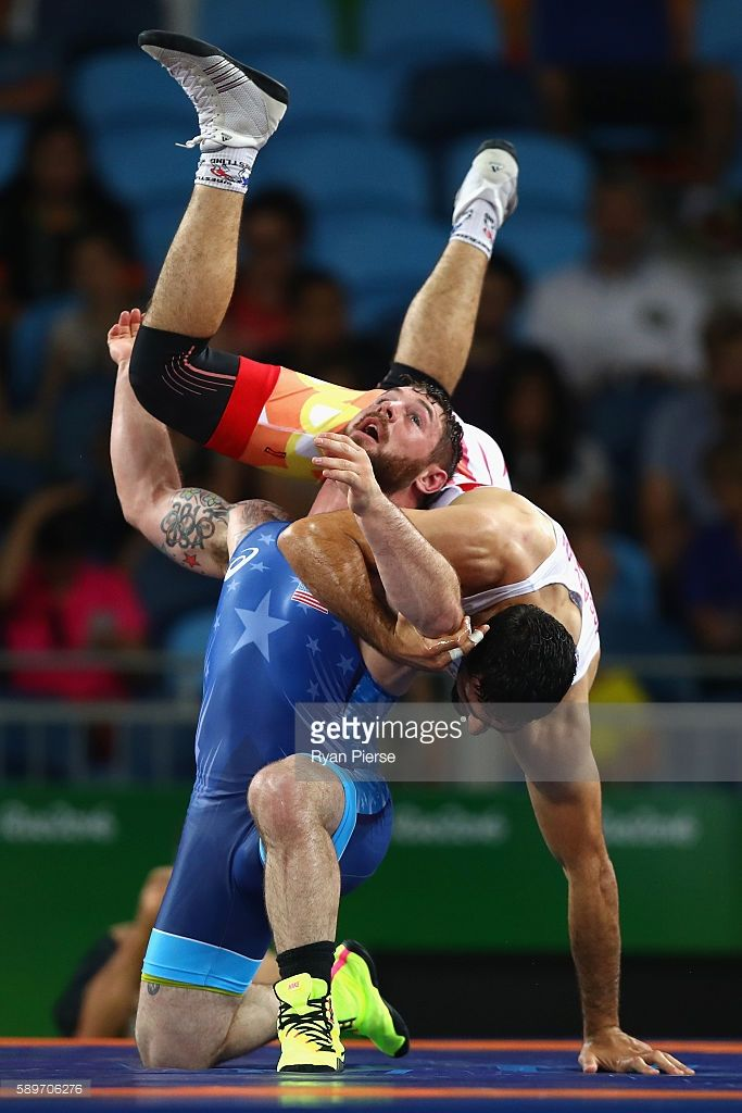 Benjamin Errol Provisor of the United States (L) and Rustam Assakalov of Uzbekistan compete during the Men's Greco-Roman 85 kg on Day 10 of the Rio 2016 Olympic Games at Carioca Arena 2 on August 15, 2016 in Rio de Janeiro, Brazil.