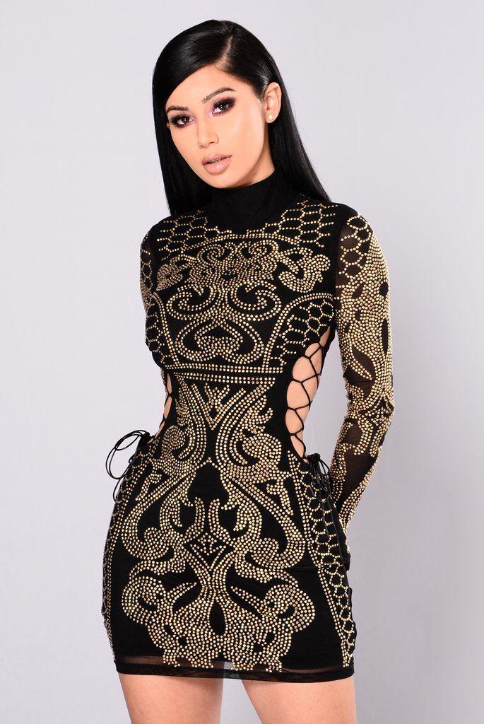 Dynasty Studded Dress - Black