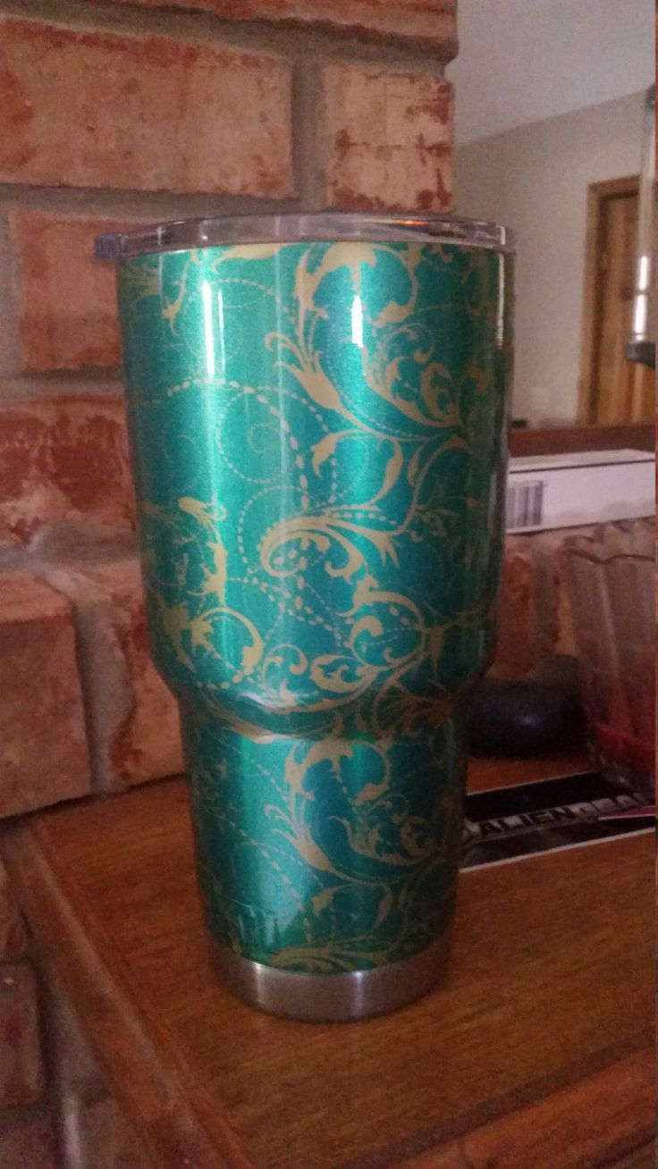 Yeti Cup 30oz Dipped in a Green and Gold Swirl by ...