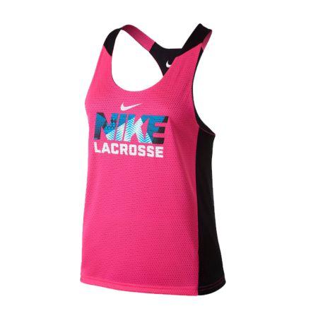 #LacrosseUnlimited Women's Nike Reversible Mesh Tank in Black/Pink. #tank #lax #alwaysCustom #nike #pink