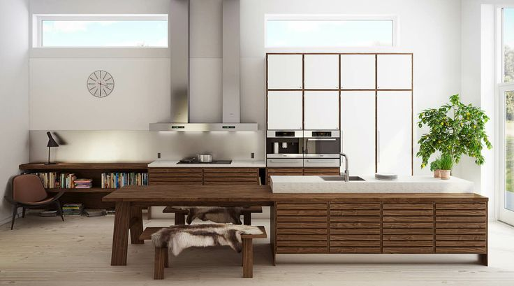 """C-Series: Walnut and Polar White laminate. """"BUKBUK"""" Dining table and benches integrated with kitchen island."""