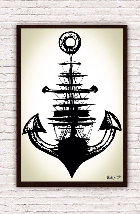 Sailing Ship w/ Anchor // Trippy Nautical Ship and Anchor Art Drawing // Poster Print   by SargentIllustration, $30.00< Would be cool as a tattoo..